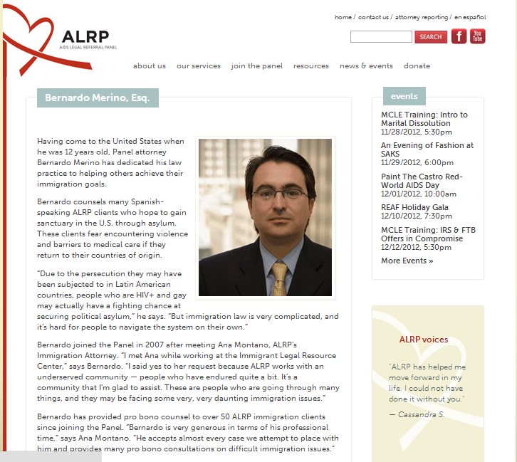"""""""ALRP is incredibly grateful for Bernardo's generous service to our clients and our organization."""""""